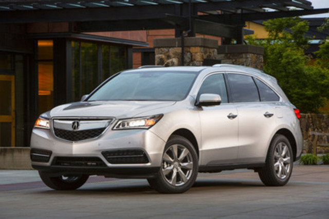 "The all-new 2014 Acura MDX has been named AJAC's ""Best New SUV over $60,000"". The MDX offers luxurious comfort and quietness, exhilarating dynamic performance, class-leading fuel economy, advanced safety features, and a technology-packed and versatile passenger cabin. (CNW Group/Acura Canada)"