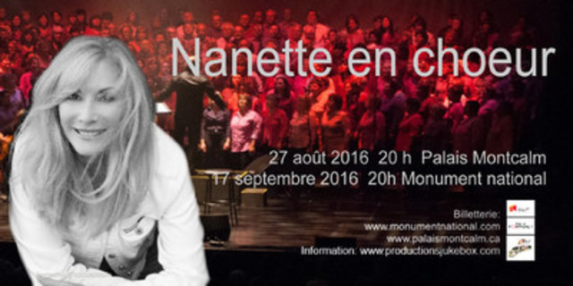 Nanette Workman accompagnée du Grand Chœur Jukebox chantera à Montréal le 17 septembre prochain au Monument National (Groupe CNW/Productions Jukebox inc.)