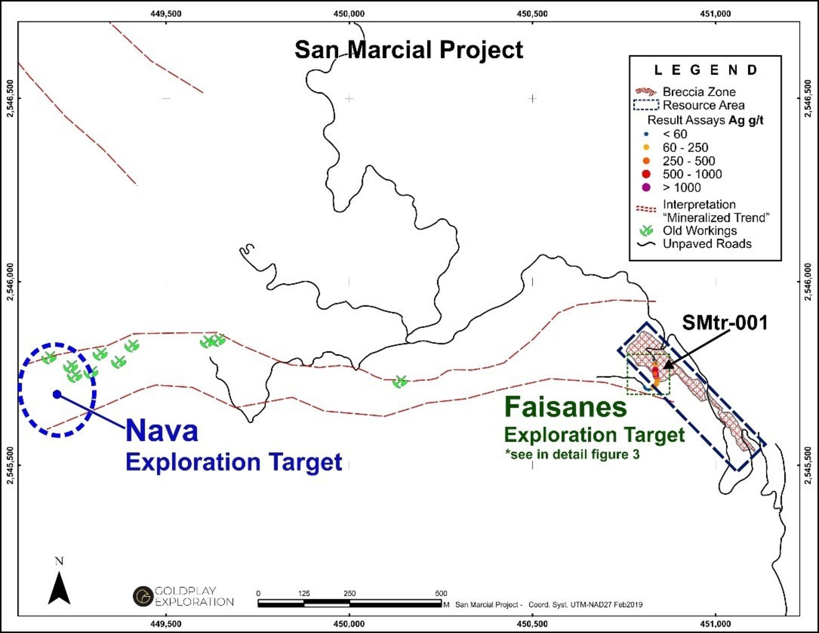 Figure 2 San Marcial - Location of the Nava-Faisanes Targets and Trench SMtr-001