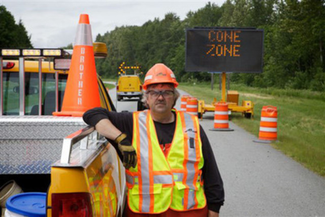 """Slow down and drive with care when approaching a """"Cone Zone"""". (CNW Group/BCAA Road Safety Foundation)"""