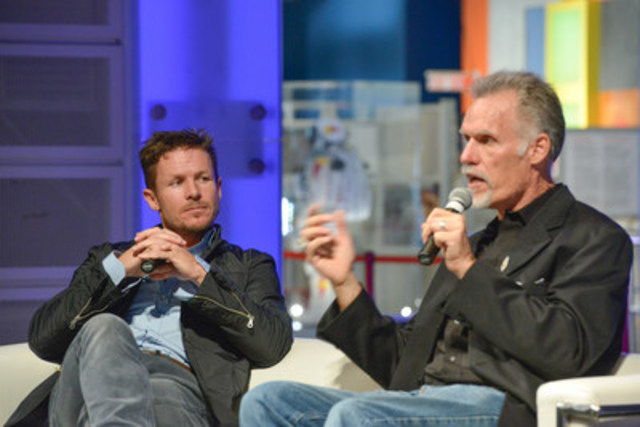 Felix Baumgartner, Pilot, and Art Thompson, Technical Director, talk about the science and technology that made the  Red Bull Stratos mission possible at the Ontario Science Centre on October 13, 2015. The Red Bull Stratos exhibit runs at the Science Centre until January 11, 2016. (CNW Group/Ontario Science Centre)
