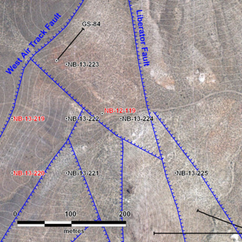 Figure 1: Location of new reverse circulation at North Sierra Blanca. Red labels indicate assays reported in Table 1. Black labels are holes that have been drilled but have assays pending. (CNW Group/Corvus Gold Inc.)