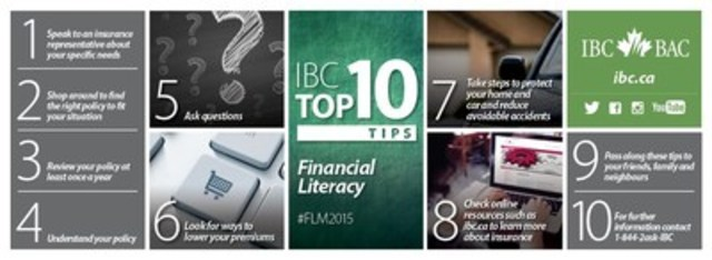 IBC Top 10: Tips to help to increase insurance literacy (CNW Group/Insurance Bureau of Canada)