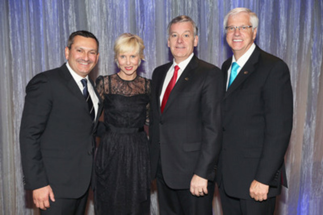 From left to right : Stephan Robitaille, FCPA, FCGA, Chair of the Order, Pénélope McQuade, Host, Alain Côté, FCPA, FCA, CPA Canada representative and Daniel McMahon, FCPA, FCA, President and Chief Executive Officer of the Order. (CNW Group/Ordre des comptables professionnels agréés du Québec)