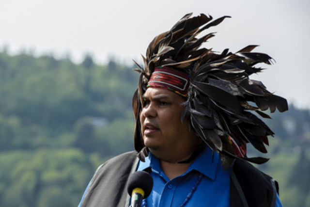 Rueben George speaks at the announcement of the Tsleil-Waututh Nation legal challenge of the Kinder Morgan Pipeline and Tankers Project Whey-ah-Wichen\Cates Park. (CNW Group/Tsleil-Waututh Nation)
