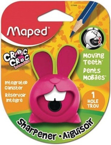 Maped Croc Croc Pencil Sharpener – The rabbit-shaped pencil sharpener is bold, interactive and fun. Sharpen a pencil in a clockwise rotation and watch the rabbit's teeth move! It's available in assortment of colours such as red, pink and blue. (CNW Group/Staples Canada Inc.)