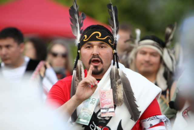 Gabe George, Tsleil-Waututh Nation Traditional Speaker, leads a ceremony prior to the Nation's signing of the Save the Fraser Declaration. Photo by James Maclennan (CNW Group/Tsleil-Waututh Nation)