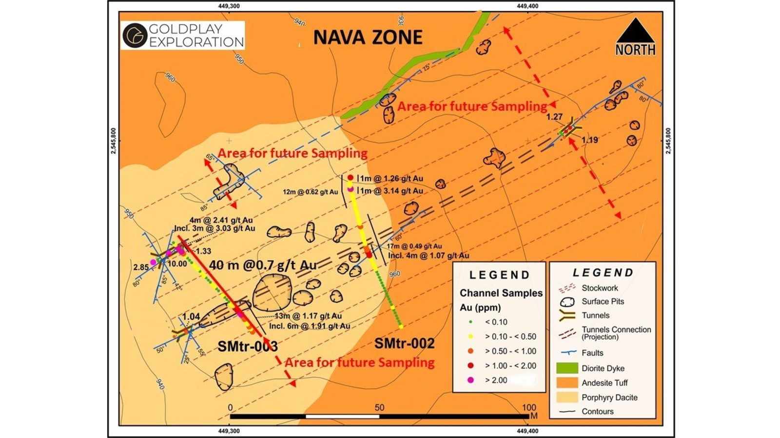 Figure 3 Nava Zone – Geology and Tunnel Sampling Results