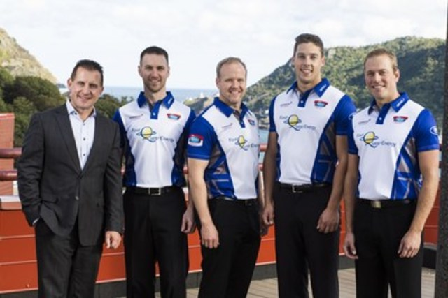 From left to right: Kenneth Bennett, President of Johnson Insurance and Senior Vice President, Lifestyle Insurance, RSA Canada, with Team Gushue, Brad Gushue (Skip), Mark Nichols (Third), Brett Gallant (Second), and Geoff Walker (Lead) (CNW Group/Johnson Insurance)