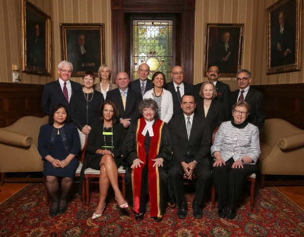 Law Society Treasurer Janet E. Minor (middle, front) congratulates recipients of the 2016 Law Society Medal (LSM), and four other special Law Society awards, at the annual ceremony held on May 25. Shown here, from left to right, front: Jenny Vuay Quan (J. Shirley Denison Award); Lisa Borsook (Laura Legge Award); Treasurer Minor; John Tzanis (William J. Simpson Distinguished Paralegal Award); and Mary Lou Dingle, Q.C. (Lincoln Alexander Award). Back row, left to right: Ronald F. Caza (LSM); Jennifer E. Babe (LSM); Kathy Laird (LSM); Orlando Da Silva (LSM); Prof. Frederick Zemans (LSM); Ronda Bessner (LSM); Peter Rosenthal (LSM); Linda Gehrke (LSM); Prof. Errol Mendes, O.Ont. (LSM) and David Estrin (LSM). (CNW Group/The Law Society of Upper Canada)