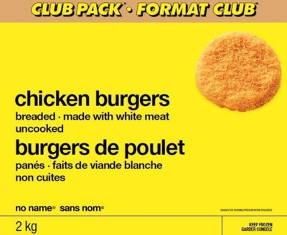 Important Safety Notice: Recall of No Name® Chicken Burgers in Atlantic Canada, Ontario and Quebec (CNW Group/Loblaw Companies Limited)