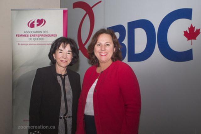 Gisèle Picard, présidente de l'AFEQ, et Louise Langevin, vice-présidente, Capital de croissance et transfert d'entreprise et championne régionale de l'initiative de BDC liée aux femmes entrepreneures, collaborent pour mettre en valeur les réussites des entrepreneures (Groupe CNW/Association des Femmes Entrepreneures de Québec)