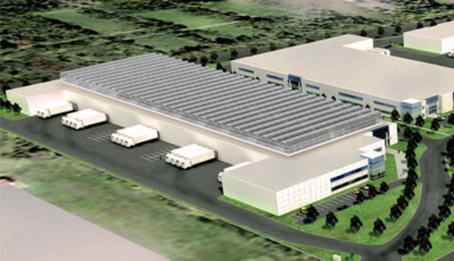 Future Lufa Farms greenhouses will measure 80,000-120,000 square feet, and will sit atop LEED-certified industrial buildings. Above, an architect's concept. (CNW Group/Lufa Farms) (CNW Group/LUFA FARMS)