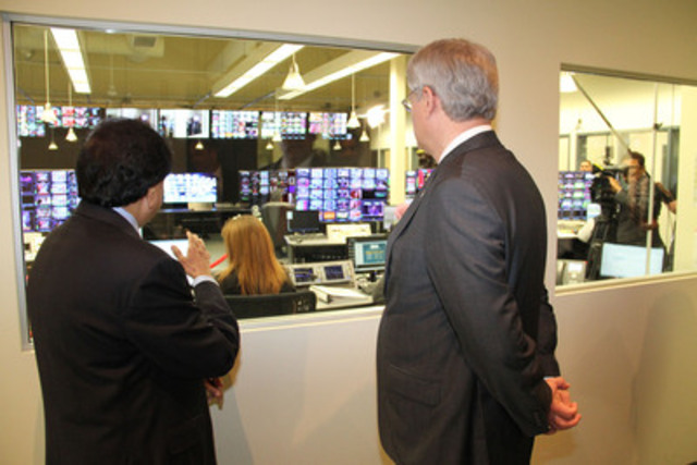 Shan Chandrasekar and the Prime Minister of Canada Rt. Honourable Stephen Harper touring ATN's broadcast facility. (CNW Group/Asian Television Network International Limited)