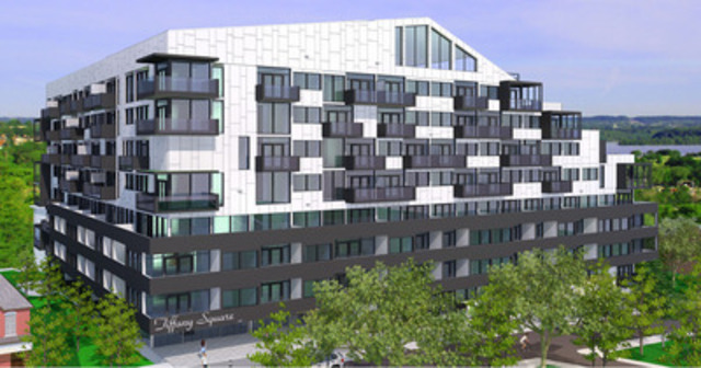 Tiffany Square Condominiums at the West Harbour will be an 8 story, 164 unit building, boasting the best views of Hamilton's waterfront. Located steps away from the new Go Station and from the beautiful Bayfront Park, Tiffany Square is the most desirable location to work, live and play. (CNW Group/Sonorak Corp)
