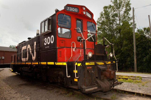 Exporail, the Canadian Railway Museum, is pleased to announce the arrival of diesel-electric locomotive CN 7300. Exporail thanks its loyal partner, CN, for this generous donation that will fill several needs. Photo: Pascale Simard (CNW Group/Exporail, the Canadian Railway Museum)