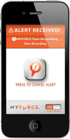 At the press of a button, the MyForce app connects the user with a live monitoring centre that dispatches help to your GPS location when warranted. (CNW Group/SafeTracks GPS Solutions)