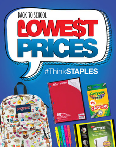 Staples has all the back-to-school products that students need at the guaranteed lowest prices. This year, the retailer's in-store signage and digital advertising campaign will focus on driving this message. (CNW Group/Staples Canada Inc.)