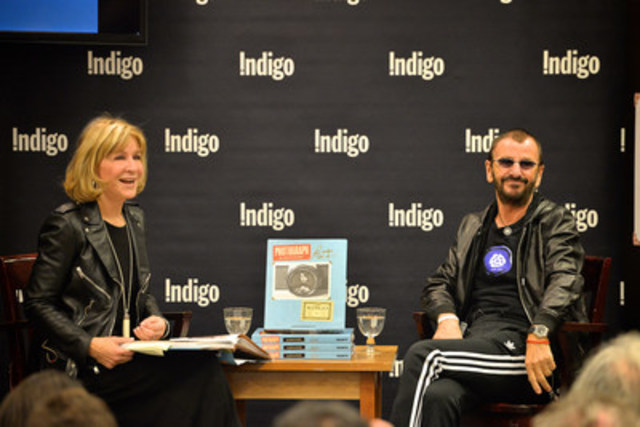 Legendary rocker Ringo Starr of The Beatles speaks of fame, the joy of music, and his new book Photograph with Indigo CEO Heather Reisman at Indigo Bay & Bloor in Toronto (October 20, 2015). (Photographer: Shan Qiao) (CNW Group/Indigo Books & Music Inc.)