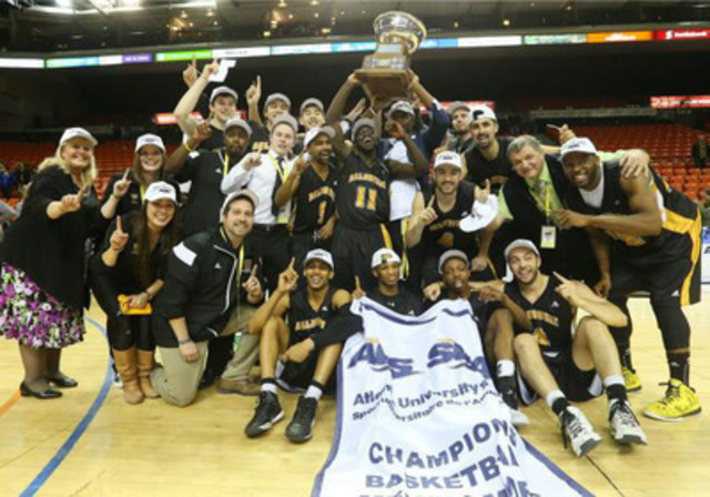 AUS fans across all four Atlantic provinces will now have access to televised broadcasts of great AUS moments like the Dalhousie Tigers claiming the 2015 AUS men's basketball banner. (CNW Group/Bell Aliant Inc.)