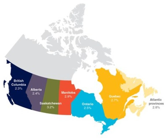 Average salary increases in 2016 by region. (CNW Group/Conference Board of Canada)