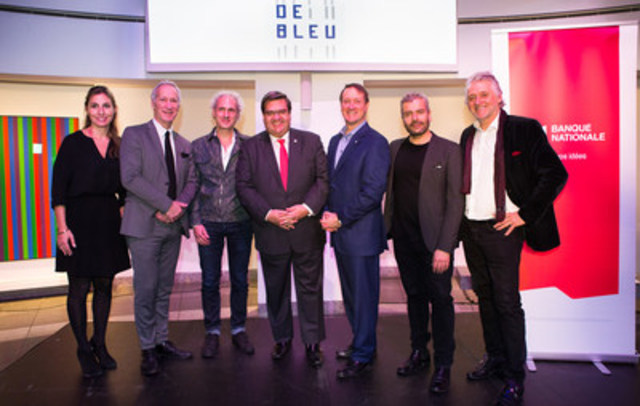 From left to right: Anne-Marie Barnard, Director, Communications, Marketing and Foundation; David Birnbaum, Member of the National Assembly for D'Arcy-McGee; Denis Coderre, Mayor of Montreal; Louis Vachon, President and Chief Executive Officer of National Bank; John Zeppetelli, Director and Chief Curator of the Musée d'art contemporain de Montréal and Gilbert Rozon, Commissioner for Celebrations and Executive Committee Member of the Society for the Celebration of Montreal's 375th Anniversary (CNW Group/National Bank of Canada)