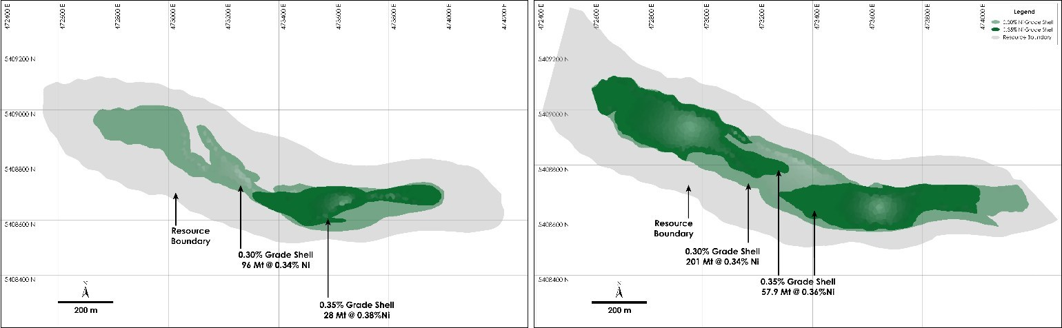 Figure 4 - Plan View of Main Zone – Comparison of Current and Prior Mineral Resource and Grade Shells at the Crawford Nickel-Cobalt Sulphide Project, Ontario. Prior Main Zone - Current Main Zone (CNW Group/Canada Nickel Company Inc.)