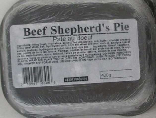 Traditional Shepherd's Pie – Beef Shepherd's Pie - 400 gram (CNW Group/Canadian Food Inspection Agency (CFIA))