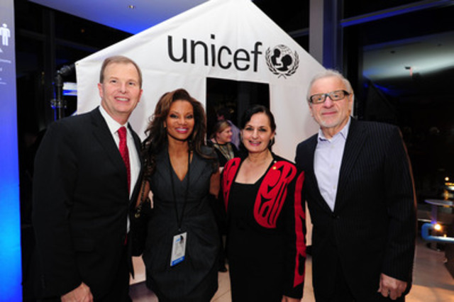 UNICEF Canada President and CEO David Morley joined by eTalk reporter and co-host of The Social Traci Melchor, UNICEF Canada Ambassador Veronica Tennant and Irish-Canadian tenor and actor Colm Wilkinson at the premiere of The UNICEF Experience in Toronto. unicef.ca/experience (CNW Group/UNICEF Canada)