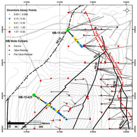 Figure 1. Drill hole map of the North Sierra Blanca target with the projection of the NE30 target zone and drill holes NB-15-425 & 426 shown with down hole assays. (CNW Group/Corvus Gold Inc.)