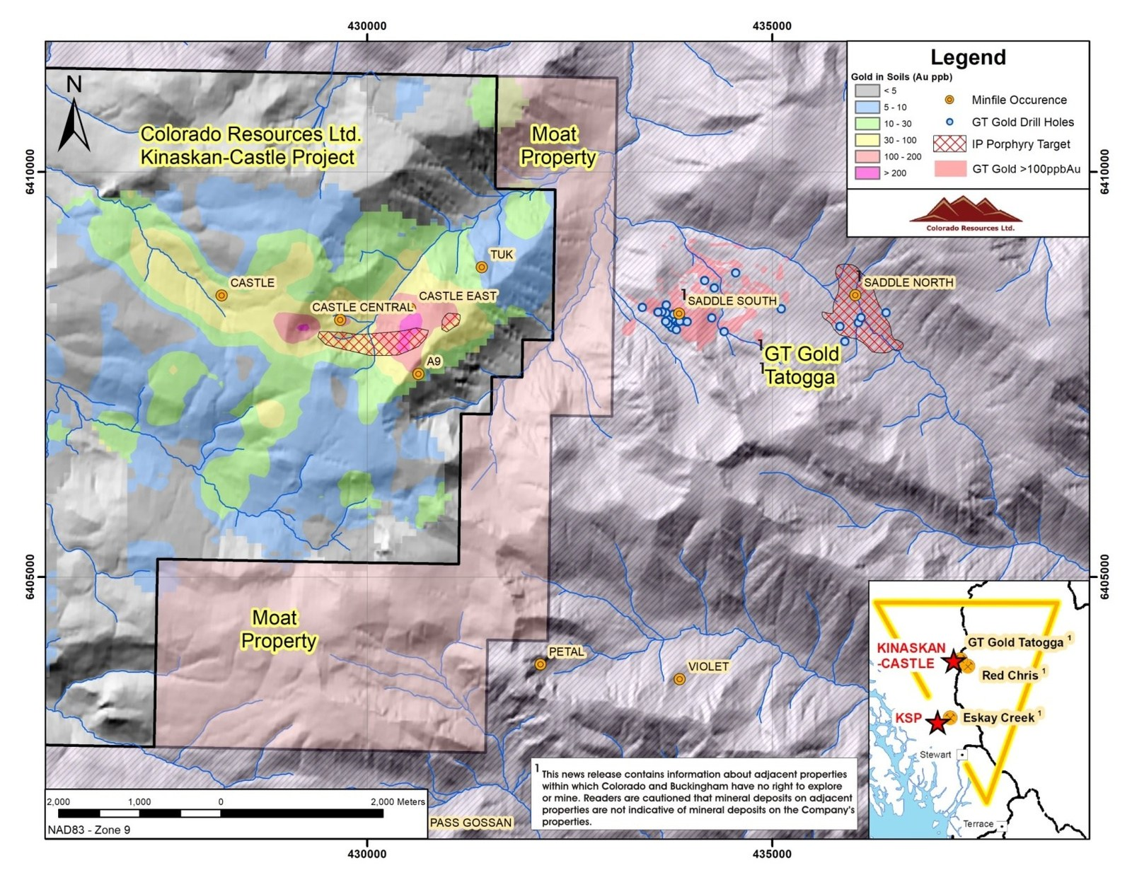 Figure 1: Location of Buckingham's Moat Property relative to Colorado's Kinaskan-Castle Property andGT Gold'sSaddle South andSaddle North mineral discoveries at Tatogga. Note east-west alignment of gold and copper anomalies and mineral occurrences from Saddle North and South through to the Castle area. Note that the Castle Central and Castle East targets have yet to be drill tested