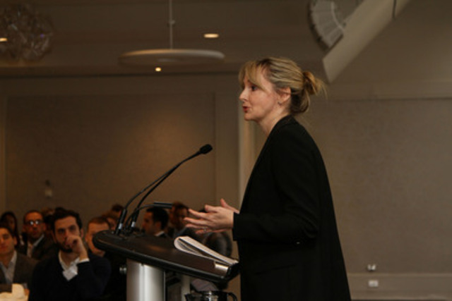 Kirstine Stewart, Twitter Canada Managing Director, delivers an inspiring Keynote Address to young professionals at Breakfast of Champions in support of SickKids. (CNW Group/Breakfast of Champions in Support of SickKids)