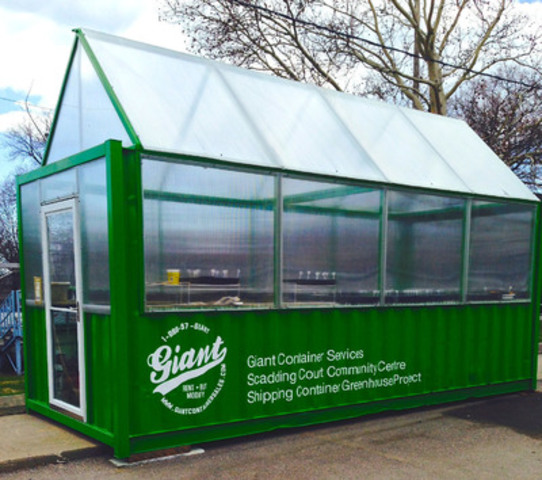 Giant Container Services delivers Canada's first shipping container greenhouse to its new home at Scadding Court Community Centre in Toronto. (CNW Group/GIANT CONTAINER SERVICES)
