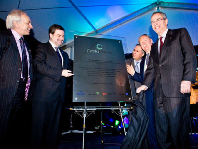 Mr. Pierre Lapointe, President of FPInnovations, Mr. Alain Paquet, Québec's Minister for Finance, Mr. Jean Moreau, President and CEO of CelluForce, Mr. John D. Williams, President and CEO of Domtar, and the Honourable Joe Oliver, Canadian Minister of Natural Resources (CNW Group/CELLUFORCE)