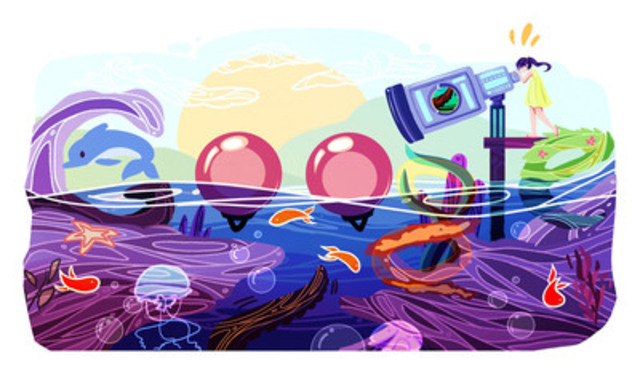 Ontario's Cindy Tang, age 17, wins the first ever Doodle 4 Google Canada competition for her illustration of an underwater sea telescope. (CNW Group/Google Canada)