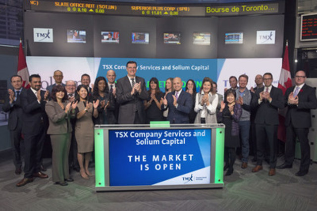 Cameron Hall, Executive Vice-President, Canadian Client Services and Head of Global Marketing, Solium Capital Inc., joined Loui Anastasopoulos, President, TSX Trust and Managing Director, TSX Company Services, TMX Group, to open the market. TSX Company Services today announced a strategic alliance with Solium Capital Inc., a provider of cloud-enabled services for global equity administration, financial reporting and compliance. The agreement, effective immediately, seeks to leverage the depth of capabilities across the two organizations to offer enhanced services to both public and private companies. For more information, please visit www.tsx.com/tsx-company-services  and www.solium.com. (CNW Group/TMX Group Limited)