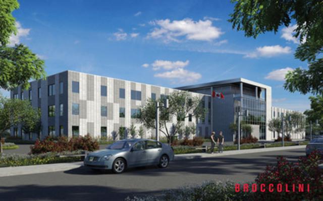 Broccolini - Immeuble de bureaux d'envergure situé à Miramichi au Nouveau-Brunswick pour le ministère des Travaux publics et Services gouvernementaux Canada (TPSGC). * Rendu d'artiste (Groupe CNW/Broccolini)
