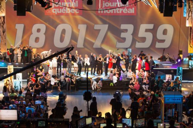 Le 26e Téléthon Opération Enfant Soleil 18 017 359 $ pour que les enfants guérissent mieux. (Groupe CNW/OPERATION ENFANT SOLEIL)