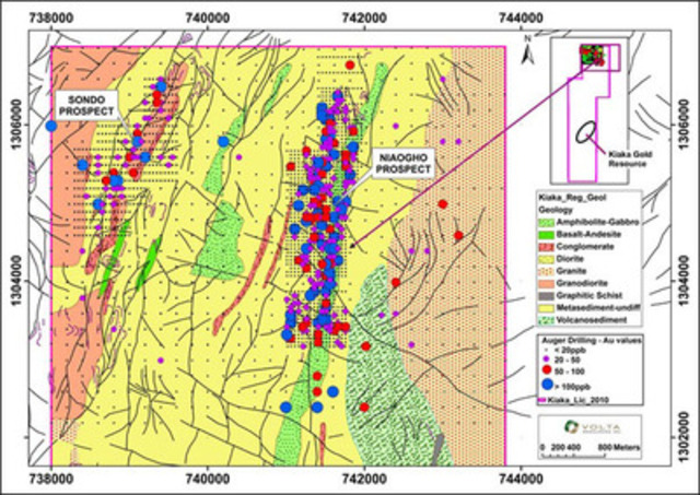 Figure 3: Niaogho and Sondo Prospects (CNW Group/Volta Resources Inc.)