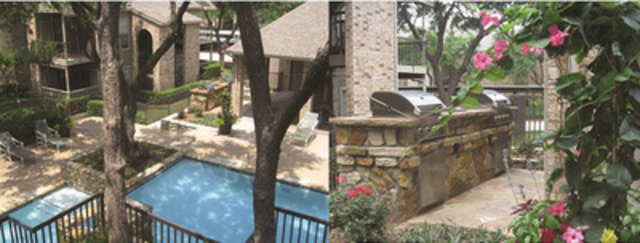 Pool view and outdoor grill view at Windsong Apartment Homes (CNW Group/Pure Multi-Family REIT LP)