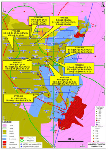 Figure 9: Plan showing location of key drilling results at Anagold Yakuplu in 2014 (CNW Group/Alacer Gold Corp.)