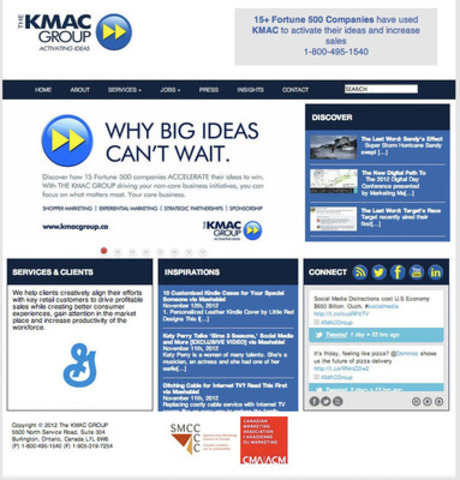 "The KMAC GROUP website has been refreshed. Have a look where you will find inspiration and resources from leading global technology and design firms. We also invite you to ""Discover"" insights into the world of sponsorship, experiential marketing and strategic partnership activation. (CNW Group/The KMAC Group)"