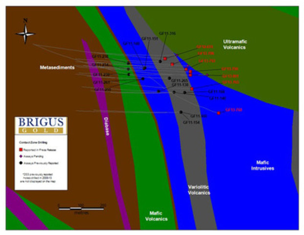 Appendix 2: Drill hole location plan map with geology. (CNW Group/Brigus Gold Corp.)