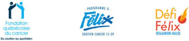 Logos : Fondation québécoise du cancer; Programme à Félix; Défi Félix-Deslauriers-Hallée (Groupe CNW/Fondation québécoise du cancer)