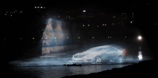 In celebration of Canada's 145th birthday, Nissan Canada presented an awe-inspiring 3D holographic water starring the Nissan Altima in four cities across Canada. (CNW Group/Nissan Canada Inc.)