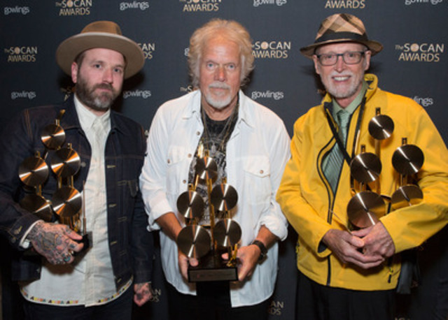 "SOCAN 2015 Achievement Award winners (left to right): Dallas Green, Randy Bachman and ""Born to be Wild"" songwriter Mars Bonfire. (Photo: Grant W. Martin Photography) (CNW Group/SOCAN)"