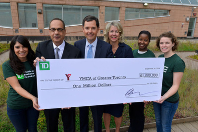 YMCA of Greater Toronto celebrates $1-million donation from TD Bank Group to build greener communities in the GTA. TD volunteers join YMCA of Greater Toronto President & CEO, Medhat Mahdy, Chair of the Board, Tim Penner and Martine Irman, Senior Vice President, TD Bank Group (CNW Group/YMCA of Greater Toronto)
