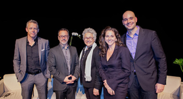 Le panel de l'événement Tapis rouge 4 MN : François Lambert, Serge Beauchemin, Cora Tsouflidou l'animatrice du panel et porte-parole de 4 MN 2013, Anne Marcotte ainsi que Nicolas Duvernois. (Groupe CNW/Arrondissement de Montréal-Nord (Ville de Montréal))