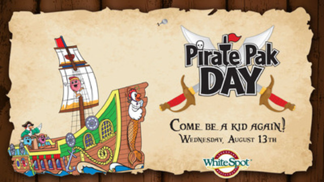 Sail towards White Spot to feel like a kid again! The seventh annual Pirate Pak Day will take place at White Spot on Wednesday, August 13 with $2.00 from each Kids and Adult Pirate Pak sold donated to Zajac Ranch for Children. Zajac Ranch is an established B.C. based charity that provides children and young adults with life-threatening illnesses and chronic disabilities an extraordinary summer camp experience. (CNW Group/White Spot)