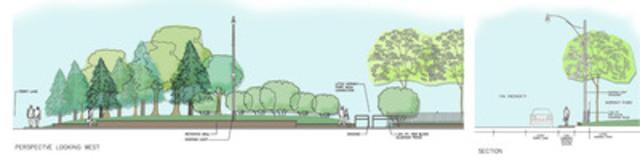 Street level rendering showcasing improvements to Eireann Quay. (CNW Group/Toronto Port Authority)